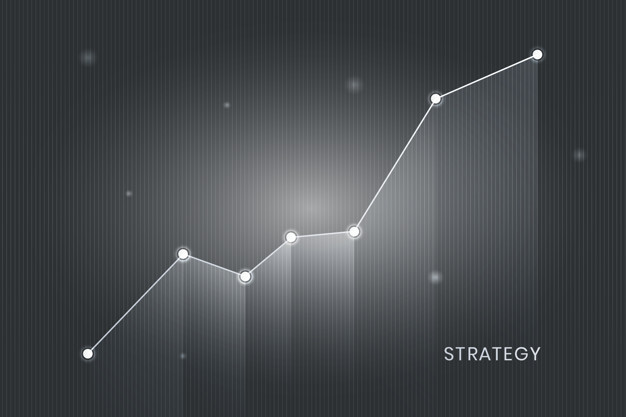White business strategy growing graph vector